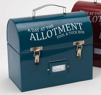Image of Burgon & Ball Tool & Tuck Tin Box: Perfect for allotment or potting shed, blue