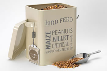 Image of Burgon & Ball Bird Feed Tin + Aluminium Scoop: Keep Nuts & Seeds Dry, Cream