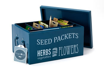 Image of Burgon & Ball Seed Packets Organiser Tin Box includes Seed Envelopes, Blue