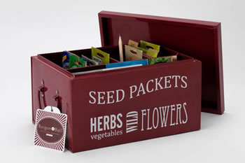 Image of Burgon & Ball Seed Packets Organiser Tin Box in Burgundy