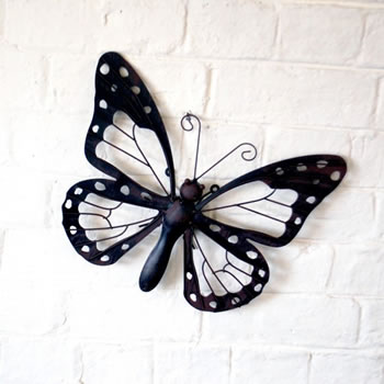 Image of Decorative Metal Butterfly Garden Wall Art Black/Brown Finish