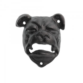Image of Wall Mounted British Bull Dog Head Cast Iron Bottle Opener in Black Finish