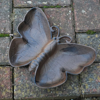 Extra image of Antique Finish Cast Iron Butterfly Bird Bath / Feeder Garden Accessory