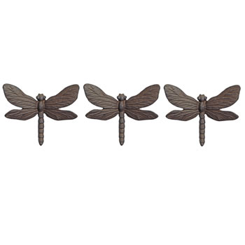 Image of Set of Three Wall Mountable Cast Iron Dragonfly Garden Ornaments with Vintage Finish