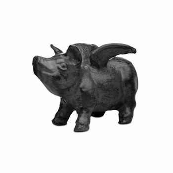 Extra image of Black Cast Iron Flying Pig Garden Ornament