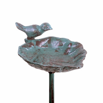 Image of Cast Iron Leaf Garden Bird Feeder on a Stake in Verdigris Finish