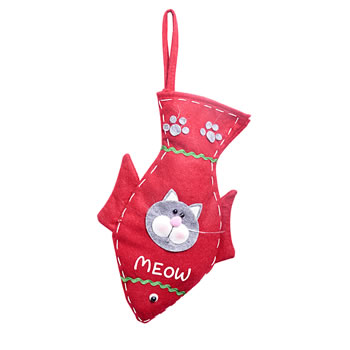 Image of Grey Cat Lovers Christmas Stocking