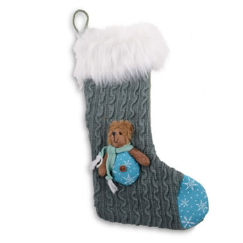 Image of Grey Knitted Fabric Finish Christmas Stocking with Bear