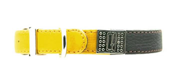 Image of D&H Decodent Leather Collar - Brown & Yellow 55cm (neck 40-50cm)