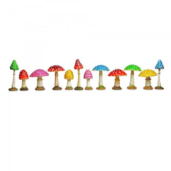 Image of Colourful Resin Mushroom Toadstool Garden Ornament - Complete Set of Twelve