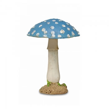 Image of Colourful Resin Mushroom Toadstool Garden Ornament - Blue Round Head