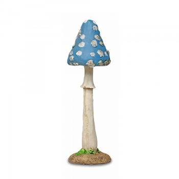 Image of Colourful Resin Mushroom Toadstool Garden Ornament - Blue Thin Pointed Head