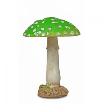Image of Colourful Resin Mushroom Toadstool Garden Ornament - Green Round Head