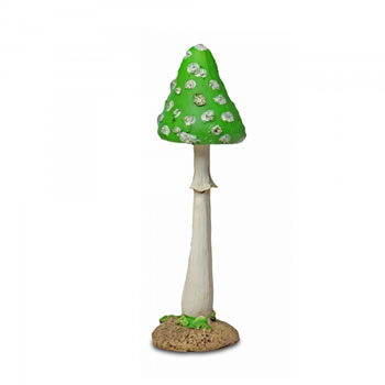 Image of Colourful Resin Mushroom Toadstool Garden Ornament - Green Thin Pointed Head