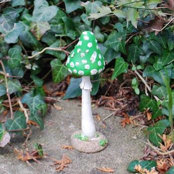 Extra image of Colourful Resin Mushroom Toadstool Ornament - Green Thin Pointed Head