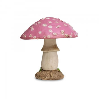 Image of Colourful Resin Mushroom Toadstool Garden Ornament - Pink Short Round Head