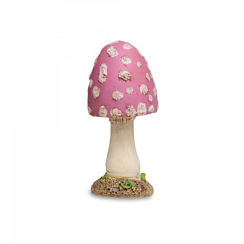 Image of Colourful Resin Mushroom Toadstool Garden Ornament - Pink Short Pointed Head