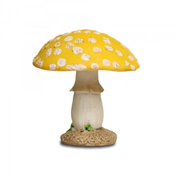 Image of Colourful Resin Mushroom Toadstool Garden Ornament - Yellow Short Round Head