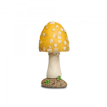 Image of Resin Mushroom Toadstool Garden Ornament - Yellow Short Pointed Head