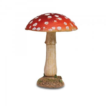 Image of Colourful Resin Mushroom Toadstool Garden Ornament - Red Round Head