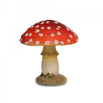 Image of Colourful Resin Mushroom Toadstool Garden Ornament - Short Round Head