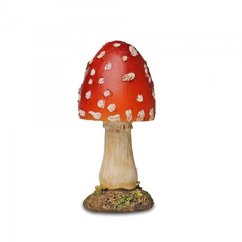 Image of Resin Mushroom Toadstool Garden Ornament - Red Short Pointed Head