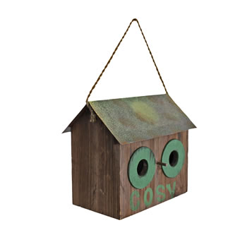 Image of Rustic Finish 'Cosy' Wooden Bird House with Metal Roof & Rope Hanger
