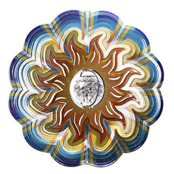 Image of Iron Stop Designer Crystal Sun Wind Spinner 10in Garden Feature