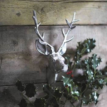 Image of Aluminium Wall Mountable Silver Stag's Head
