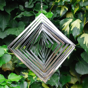 Extra image of Diamond Shaped Steel Windspinner For The Garden