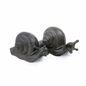 Image of Set of Two Cast Iron Snail Ornaments for the Garden