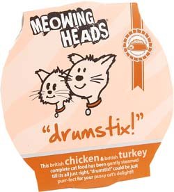Image of Meowing Heads Drumstix 85g x 8 made with 90% Chicken & Turkey