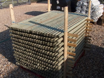 Image of 10x 1.8m x 50mm Round Wooden Fence Posts