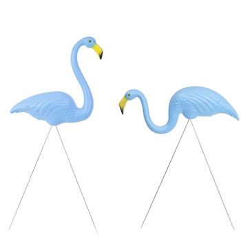 Image of Pair of Authentic Blue Plastic Lawn Flamingo Garden Ornaments by Don Featherstone