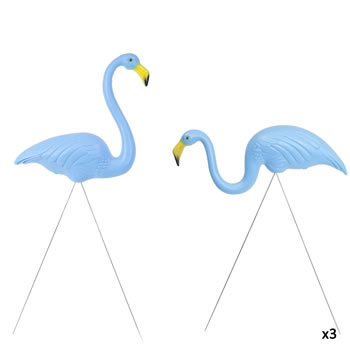 Image of 3 Pairs of Authentic Blue Plastic Lawn Flamingo Garden Ornaments