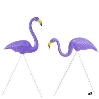 Image of 3 Pairs of Authentic Purple Plastic Lawn Flamingo Garden Ornaments by Don Featherstone