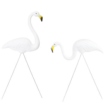 Image of Pair of Authentic White Plastic Lawn Flamingo Garden Ornaments by Don Featherstone