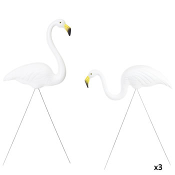 Image of 3 Pairs of Authentic White Plastic Lawn Flamingo Garden Ornaments by Don Featherstone