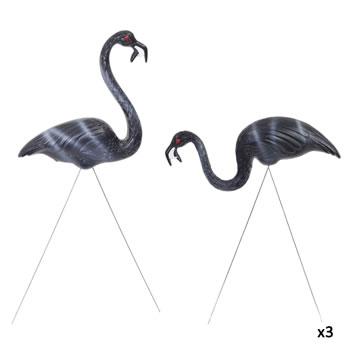 Image of 3 Pairs of Authentic Black Zombie Plastic Lawn Flamingo Garden Ornaments by Don Featherstone