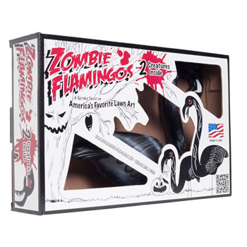 Extra image of 2 Pairs of Authentic Black Zombie Plastic Lawn Flamingo Ornaments
