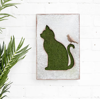 Image of Flocked Cat Wall Art