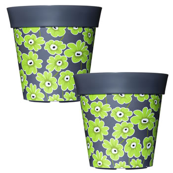 Image of 2 x 22cm Grey & Green Floral Plastic Garden Planter 5L Flowerpot by Hum