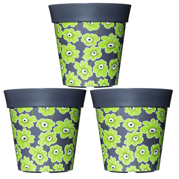 Image of 3 x 22cm Grey & Green Floral Plastic Garden Planter 5L Flowerpot by Hum