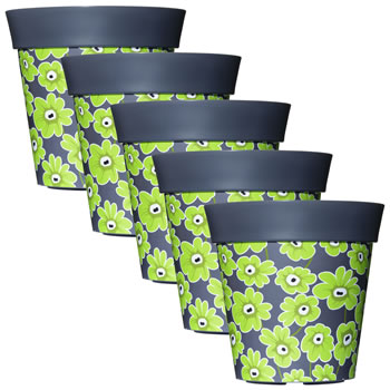 Image of 5 x 22cm Grey & Green Floral Plastic Garden Planter 5L Flowerpot by Hum