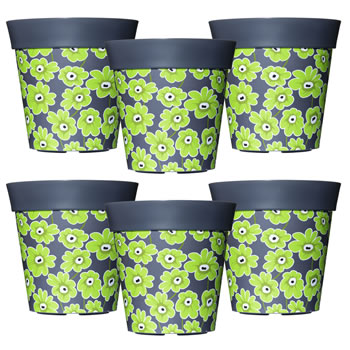 Image of 6 x 22cm Grey & Green Floral Plastic Garden Planter 5L Flowerpot by Hum