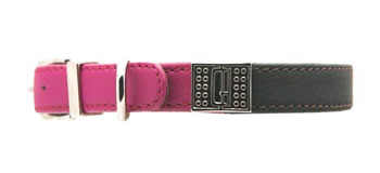 Image of D&H Decodent Leather Collar - Brown & Fuchsia 55cm (neck 40-50cm)