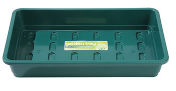 Image of 3 Garland Standard Half-Size Seed Trays: Green - Without Holes