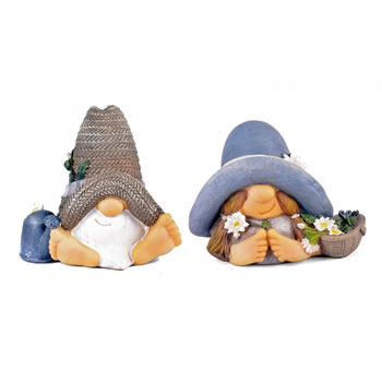 Image of Unusual Mr & Mrs Summer Hat Garden Gnome Ornaments In Resin