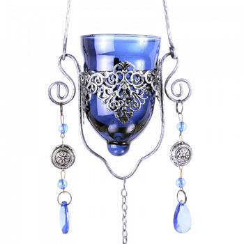 Image of Single Blue Hanging Glass Tealight Holder For Outside Or In
