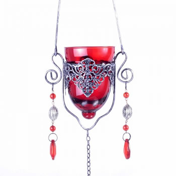 Image of Single Hanging Red Glass Tealight Holder For Outside Or In
